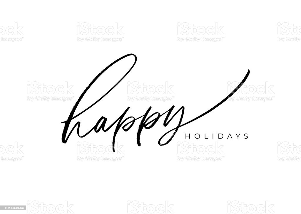 Happy holidays vector brush lettering. Hand drawn modern brush calligraphy isolated on white background. - Векторная графика Белый фон роялти-фри