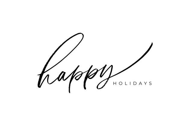 節日快樂向量刷字。手繪現代毛筆書法孤立在白色背景上。 - happy holidays 幅插畫檔、美工圖案、卡通及圖標
