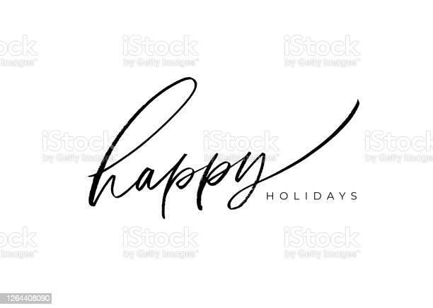Happy Holidays Vector Brush Lettering Hand Drawn Modern Brush Calligraphy Isolated On White Background — стоковая векторная графика и другие изображения на тему Белый фон