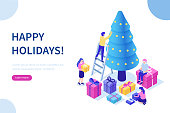 Happy business people decorate Christmas tree and prepare gift boxes together. Can use for web banner, infographics, hero images. Flat isometric vector illustration isolated on white background.
