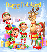 """Four cheerful Christmas elves and a deer standing in a winter landscape. In the background Santa Claus is skiing. Christmas greeting card with text """"Happy Holidays"""". Vector illustration, fully editable and labeled in layers."""