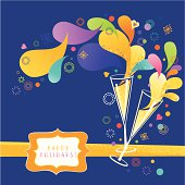 """Two glasses of Champagne on blue background with """"Happy Holidays!"""" message. Retro style. Vector. EPS 8."""