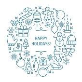 Happy holidays seasonally themed symbols wreath circle. EPS 10 file.
