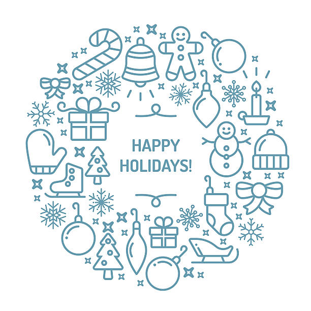 Happy Holidays Happy holidays seasonally themed symbols wreath circle. EPS 10 file. santa hat illustrations stock illustrations
