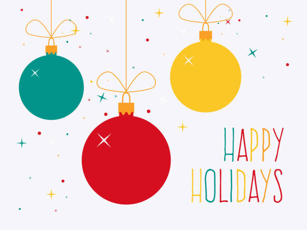 Happy Holidays Colorful Christmas baubles with text. Flat design style. christmas ornament stock illustrations