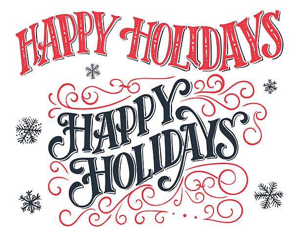 Happy holidays vintage hand-lettering set Happy holidays. Vintage hand-lettering set. Hand-drawn typography isolated on white background short phrase stock illustrations