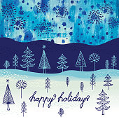Happy holidays background. Hand drawn elements and water color background.