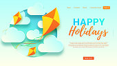 Happy holidays web banner template. Beautiful background with clouds and kites in paper art style. Vector illustration for design of tourist company.
