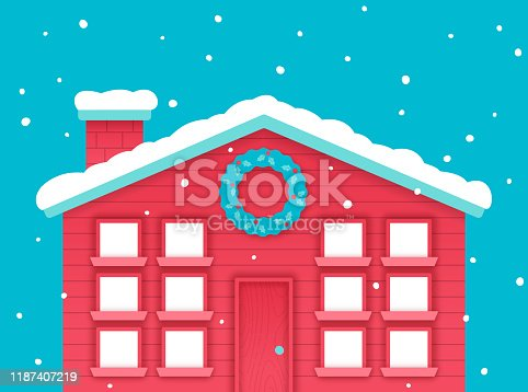 Happy holidays 12 days of Christmas winter holiday house with snow and windows and door and wreath.