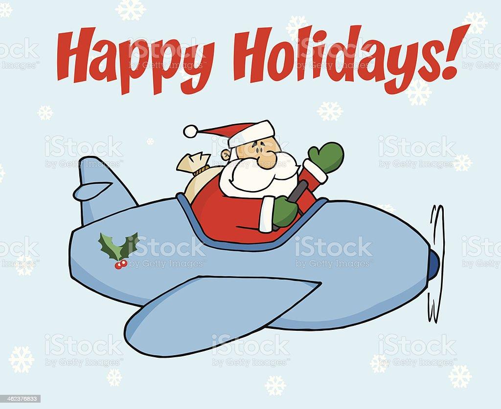 Frohe Weihnachten Flugzeug.Frohe Weihnachten Mit Santa Claus Im Flugzeug Stock Vektor