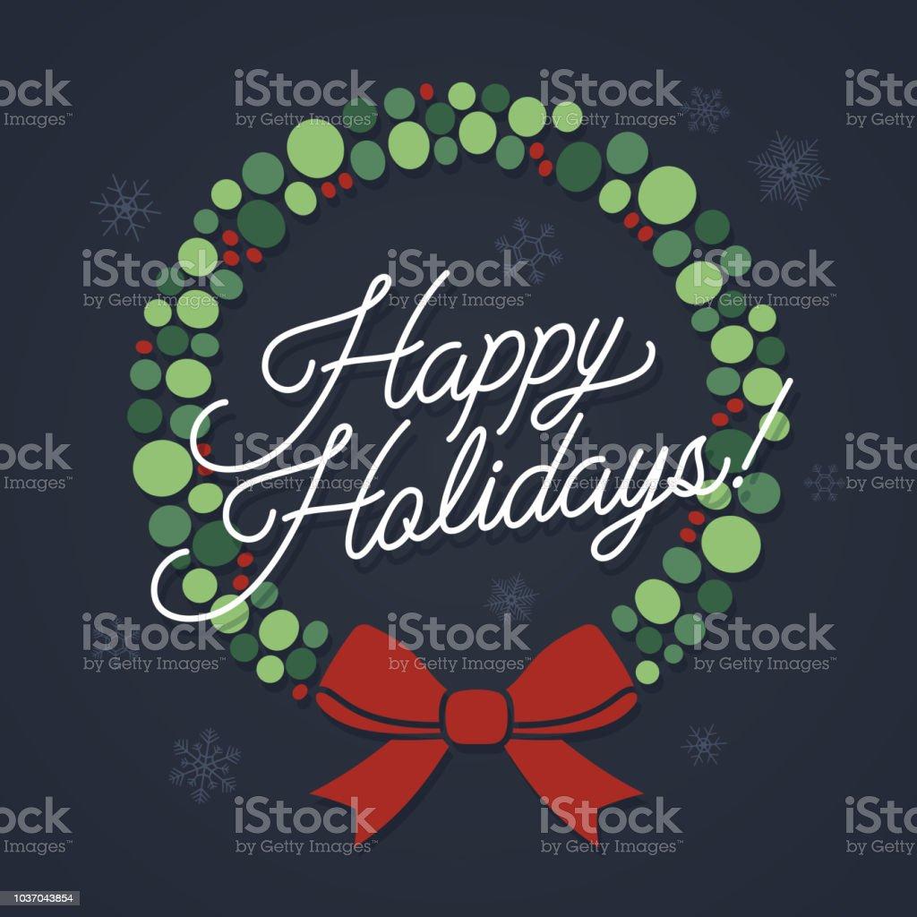 Happy Holidays Wreath - Векторная графика Абстрактный роялти-фри
