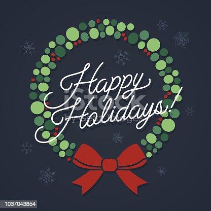 Happy holidays festive wreath design.