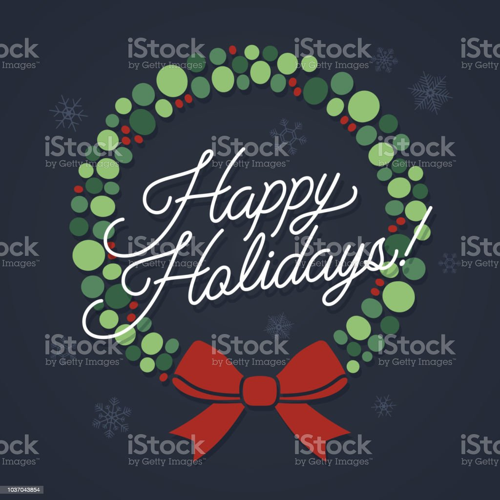 Happy Holidays Wreath vector art illustration