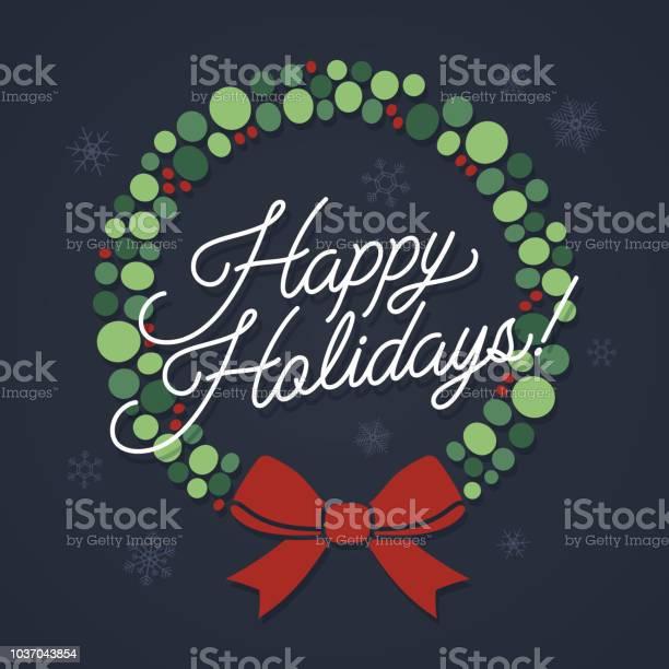 Happy Holidays Wreath — стоковая векторная графика и другие изображения на тему Абстрактный