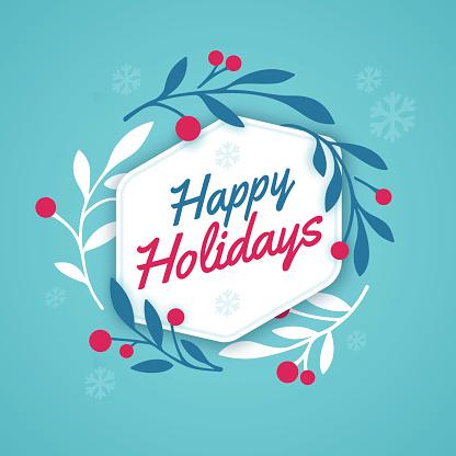 Ilustración de Happy Holidays Wreath y más Vectores Libres de Derechos de Azul