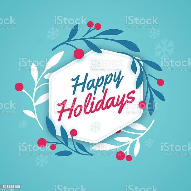 Happy Holidays Wreath — стоковая векторная графика и другие изображения на тему Белый