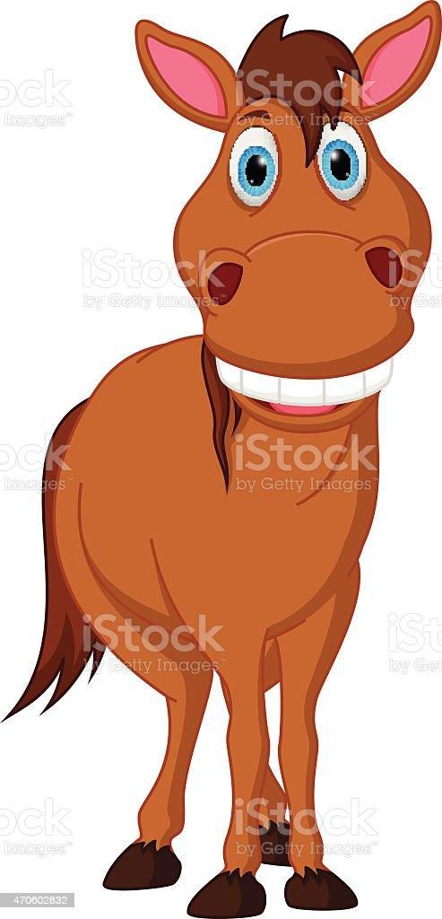 Happy horse cartoon vector art illustration