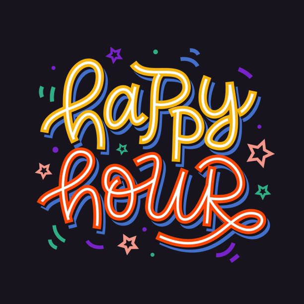 happy hour badge sign. hand written colorful creative lettering - happy hour stock illustrations, clip art, cartoons, & icons