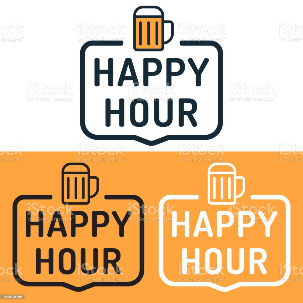 Happy hour. Badge with beer icon. Flat vector illustration on white and yellow background. vector art illustration