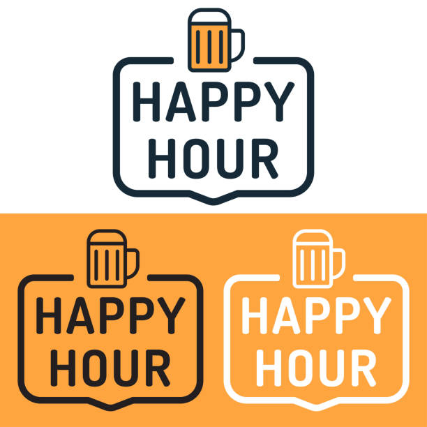 happy hour. badge with beer icon. flat vector illustration on white and yellow background. - happy hour stock illustrations, clip art, cartoons, & icons