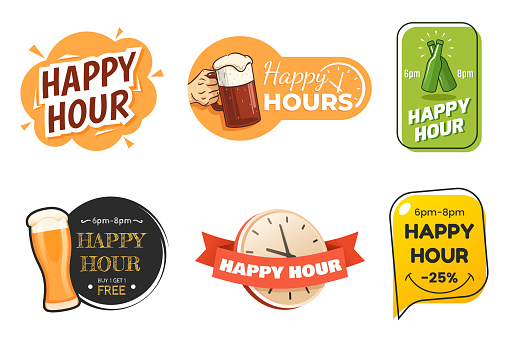 Happy hour banner collection. Colorful badges in different styles. Special offer for bar, cafe, club. Signs with beer glasses and text. Applicable for menu design, flyers, posters. Vector eps 10.