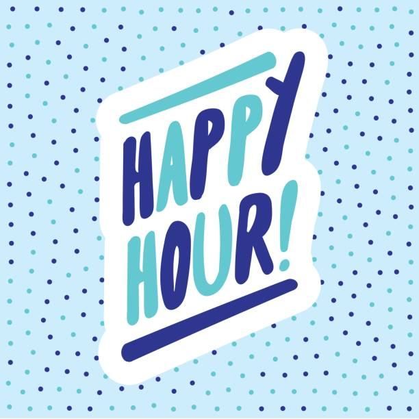 happy hour! banner. vector lettering. - happy hour stock illustrations, clip art, cartoons, & icons