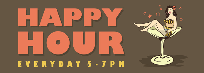 Happy Hour Banner Woman In Swimsuit Sitting In A Cocktail