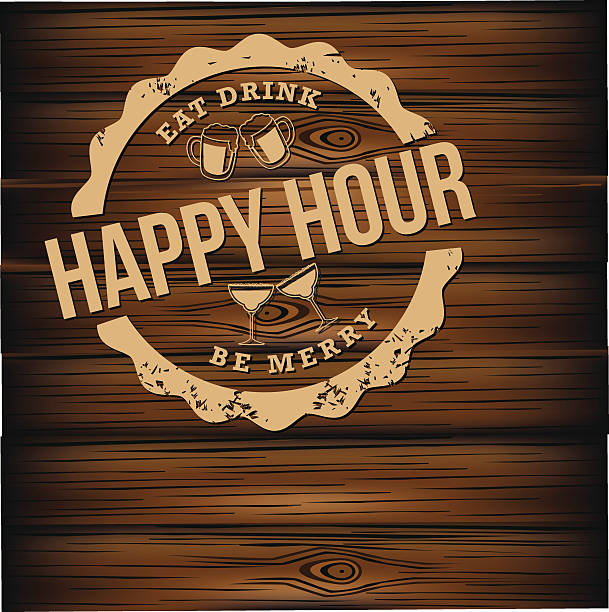happy hour carved wood background - happy hour stock illustrations, clip art, cartoons, & icons
