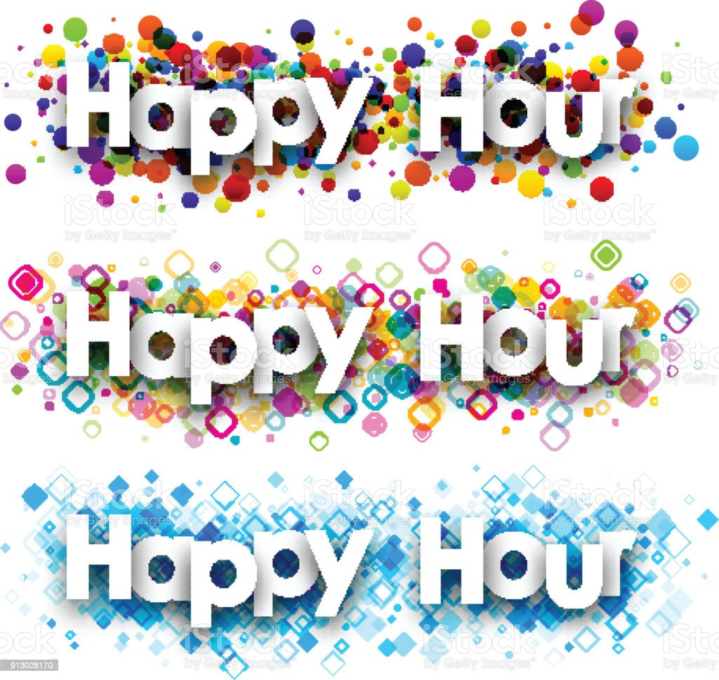 Happy hour colour banners. vector art illustration