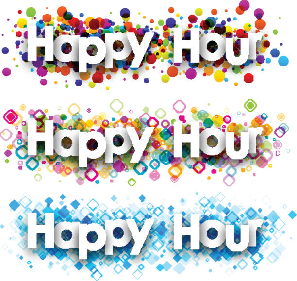 happy hour colour banners. - happy hour stock illustrations, clip art, cartoons, & icons