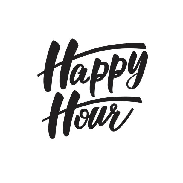 happy hour lettering design. vector illustration. - happy hour stock illustrations, clip art, cartoons, & icons