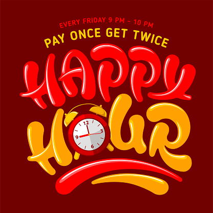 Happy Hour Lettering With Alarm Clock