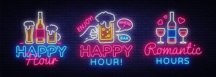 Happy Hour Neon Sign Collection Vector Happy Hour Design