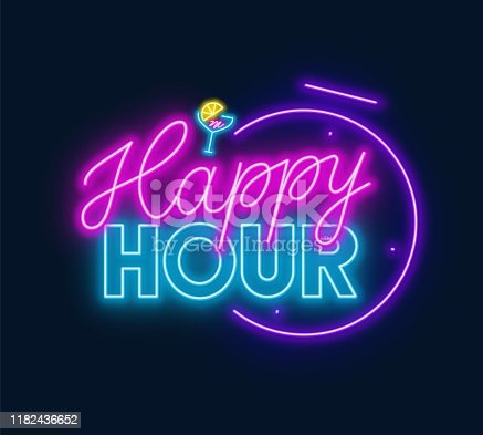 Happy hour neon sign on dark background. Vector illustration.