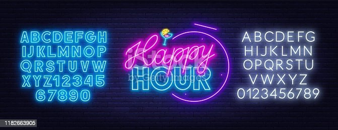 istock Happy hour neon sign on dark background. 1182663905