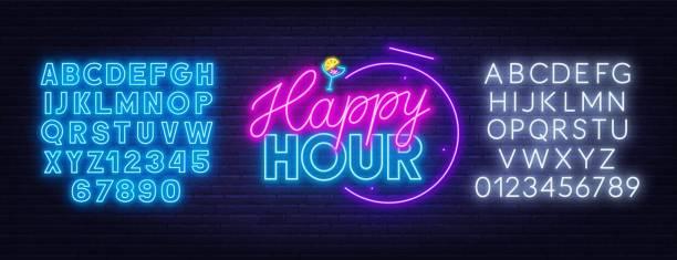 ilustrações, clipart, desenhos animados e ícones de sinal de néon da hora feliz no fundo escuro. - font