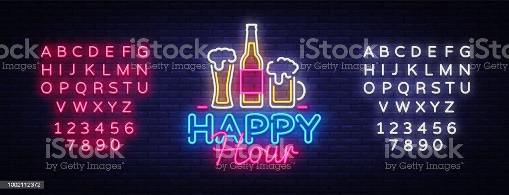 Happy Hour neon sign vector. Happy Hour Design template neon sign, Night Dinner, celebration light banner, neon signboard, nightly advertising, light inscription. Vector. Editing text neon sign vector art illustration