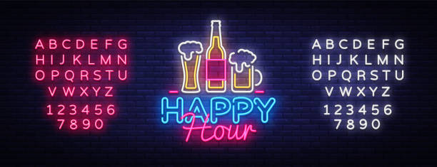 happy hour neon sign vector. happy hour design template neon sign, night dinner, celebration light banner, neon signboard, nightly advertising, light inscription. vector. editing text neon sign - happy hour stock illustrations, clip art, cartoons, & icons
