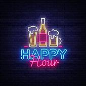 Happy Hour neon sign vector. Happy Hour Design template neon sign, Night Dinner, celebration light banner, neon signboard, nightly bright advertising, light inscription. Vector illustration.