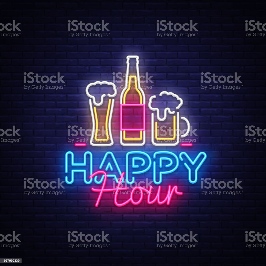 Happy Hour neon sign vector. Happy Hour Design template neon sign, Night Dinner, celebration light banner, neon signboard, nightly bright advertising, light inscription. Vector illustration vector art illustration