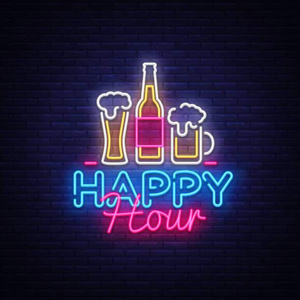 happy hour neon sign vector. happy hour design template neon sign, night dinner, celebration light banner, neon signboard, nightly bright advertising, light inscription. vector illustration - happy hour stock illustrations, clip art, cartoons, & icons