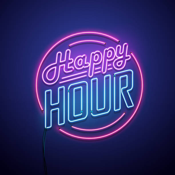 happy hour neon sign - happy hour stock illustrations, clip art, cartoons, & icons