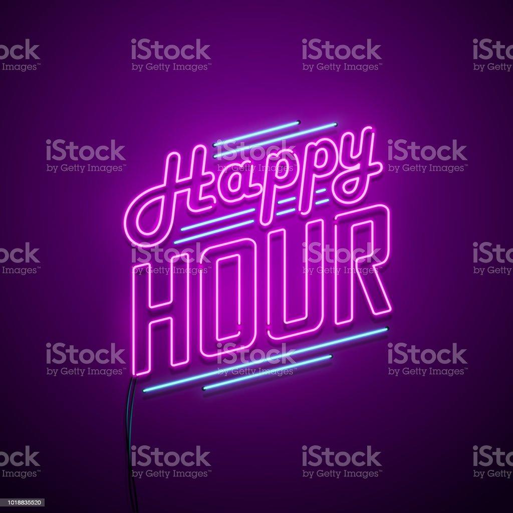 Happy Hour neon sign vector art illustration