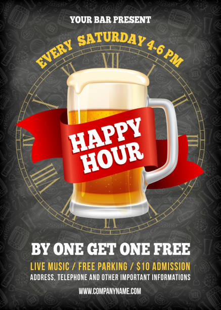 Happy Hour Poster Template Happy Hour. Free beer. Vintage illustration template for web, poster, flyer, invitation to party. Vector stock illustration. alcohol drink backgrounds stock illustrations