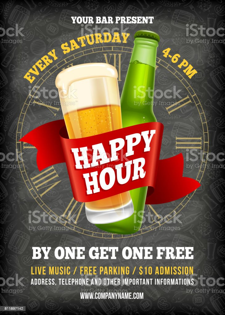 Happy Hour Poster Template Stock Illustration Download Image Now