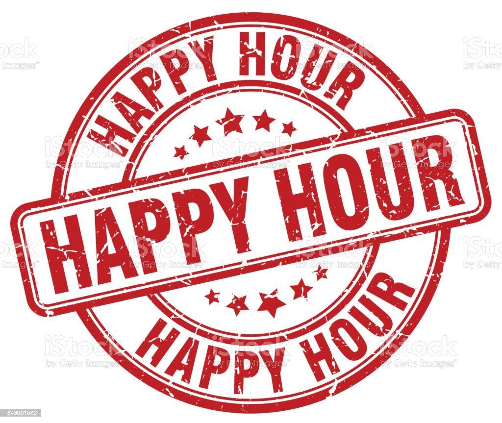 happy hour red grunge round vintage rubber stamp vector art illustration