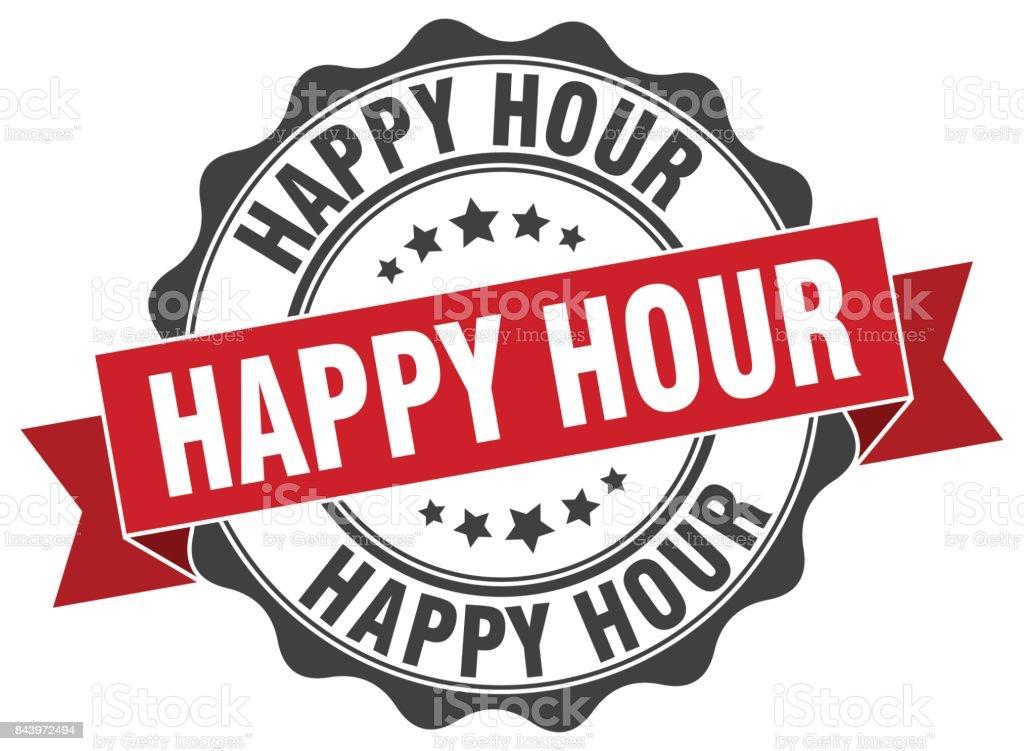 happy hour stamp. sign. seal vector art illustration