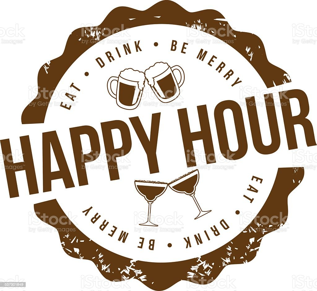 Happy hour stamp vector art illustration