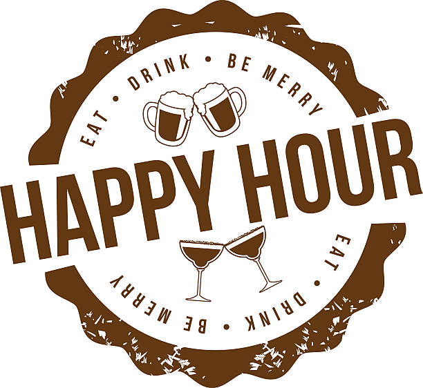 happy hour stamp - happy hour stock illustrations, clip art, cartoons, & icons