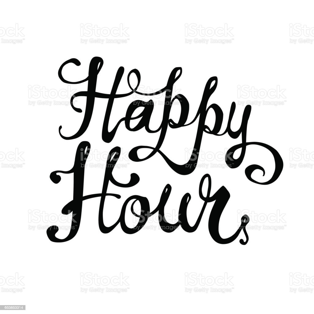 happy hour vector lettering stock vector art more images of black rh istockphoto com happy hour clip art free happy hour photos clipart